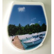 Крышка для унитаза «ЭЛИТ» с декором катер